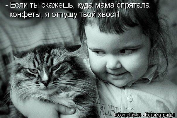 Котоматрица: - Если ты скажешь, куда мама спрятала конфеты, я отпущу твой хвост!