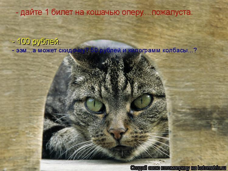 Котоматрица: дайте  - дайте 1 билет на кошачью оперу....пожалуста. - 100 рублей. - ээм...а может скидочку? 50 рублей и килограмм колбасы...?