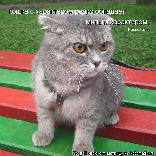 Котоматрица: Кошка с характером редко обладает милым характером. Ренар, Жюль .