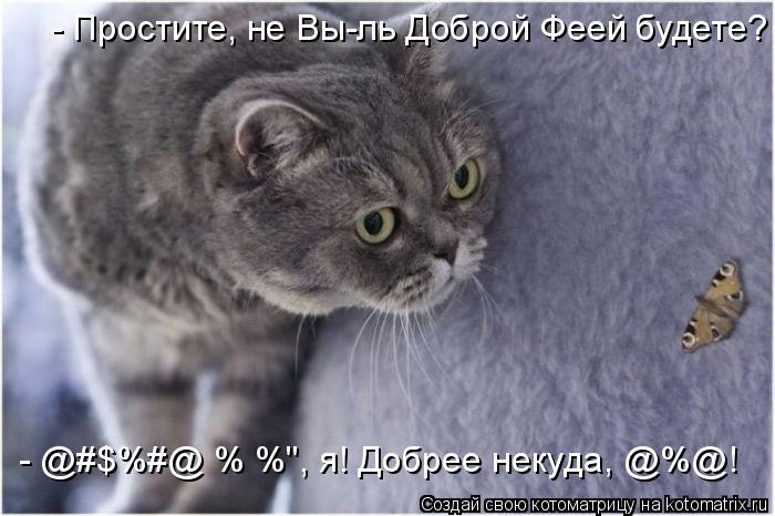 """Котоматрица: - Простите, не Вы-ль Доброй Феей будете? - @#$%#@ %№%"""", я! Добрее некуда, @%@!"""