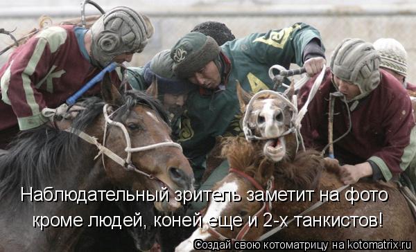 Котоматрица: Наблюдательный зритель заметит на фото кроме людей, коней еще и 2-х танкистов!