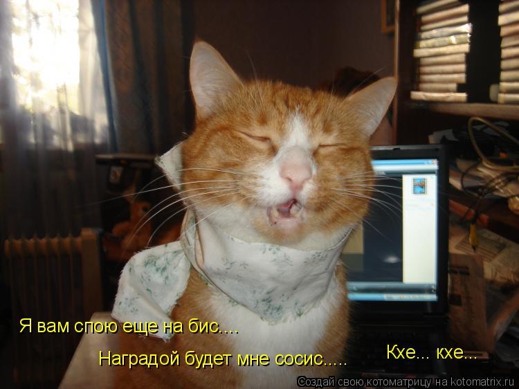 Котоматрица: Я вам спою еще на бис.... Наградой будет мне сосис..... Кхе... кхе...
