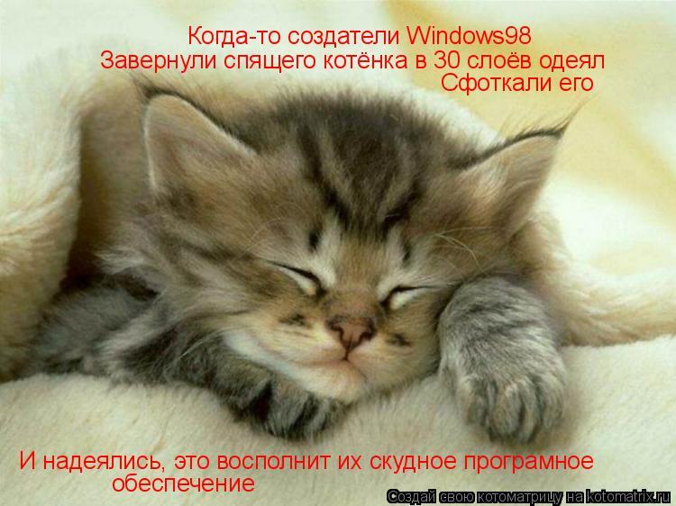 Котоматрица: Когда-то создатели Windows98 Завернули спящего котёнка в 30 слоёв одеял Сфоткали его И надеялись, это восполнит их скудное програмное обеспечен