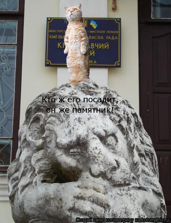 Котоматрица: Кто ж его посадит,  он же памятник!