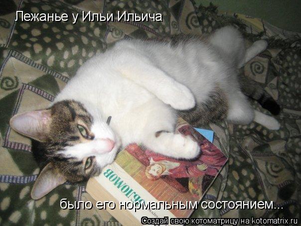 Котоматрица: Лежанье у Ильи Ильича  было его нормальным состоянием...