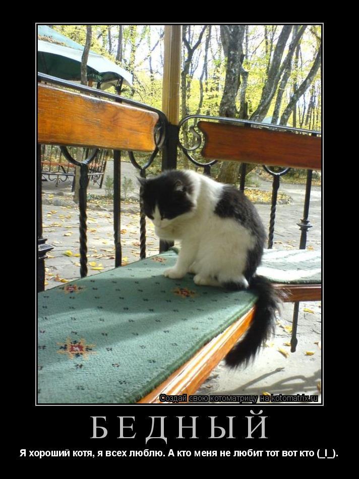 Котоматрица: Бедный Я хороший котя, я всех люблю. А кто меня не любит тот вот кто (_I_).