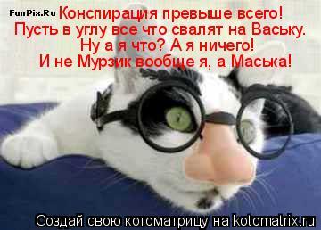 Котоматрица: Конспирация превыше всего! Пусть в углу все что свалят на Ваську. Ну а я что? А я ничего! И не Мурзик вообще я, а Маська!