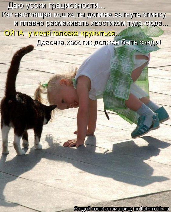 Котоматрица: Даю уроки грациозности... Как настоящая кошка,ты должна,выгнуть спинку, и плавно размахивать хвостиком,туда-сюда... ОЙ !А  у меня головка круж