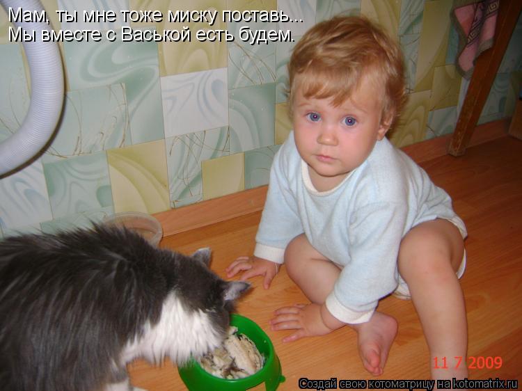 Котоматрица: Мам, ты мне тоже миску поставь... Мы вместе с Васькой есть будем.