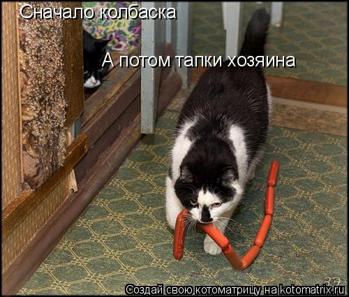 Котоматрица: Сначало колбаска А потом тапки хозяина