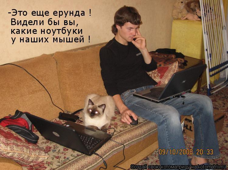 Котоматрица: -Это еще ерунда ! Видели бы вы, какие ноутбуки у наших мышей !