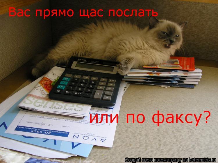Котоматрица: Вас прямо щас послать  или по факсу?