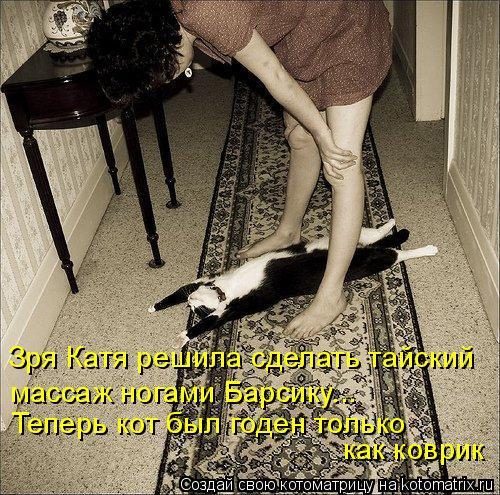 Котоматрица: Зря Катя решила сделать тайский массаж ногами Барсику... Теперь кот был годен только  как коврик