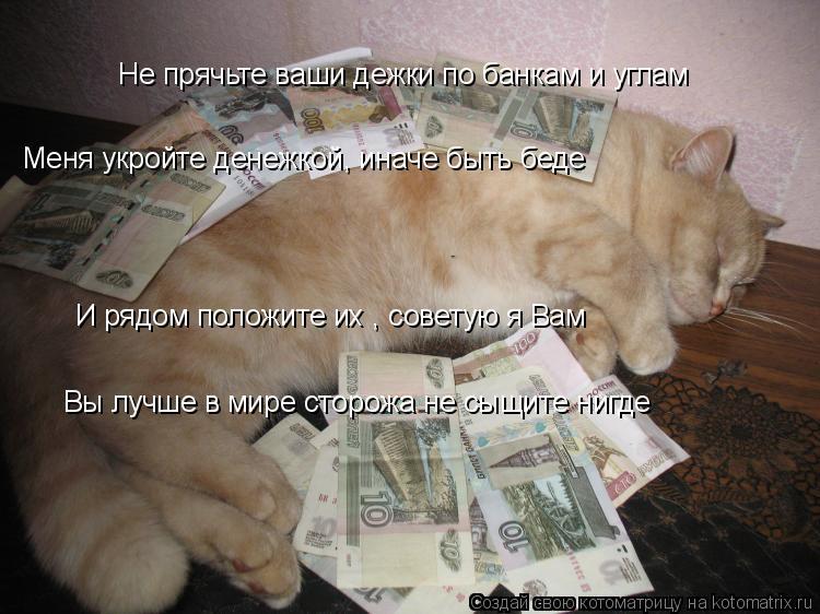 Котоматрица: Не прячьте ваши дежки по банкам и углам Меня укройте денежкой, иначе быть беде И рядом положите их , советую я Вам Вы лучше в мире сторожа не