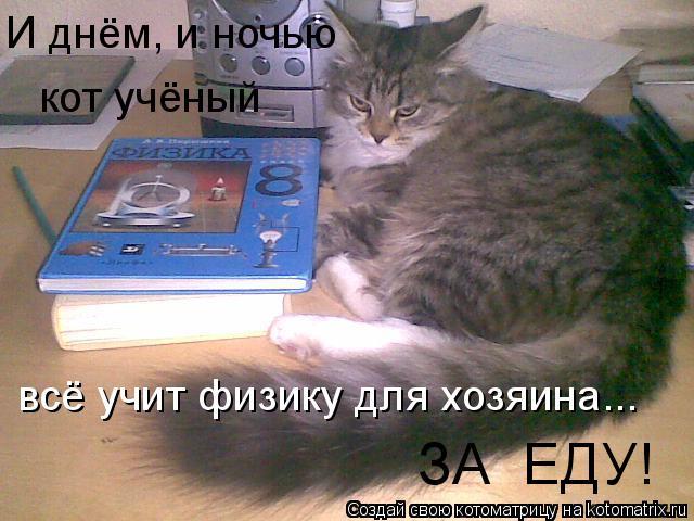 Котоматрица: И днём, и ночью кот учёный всё учит физику для хозяина... ЗА  ЕДУ!