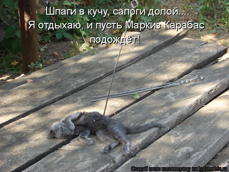 Котоматрица: Шпаги в кучу, сапоги долой.... Я отдыхаю, и пусть Маркиз Карабас  подождёт!