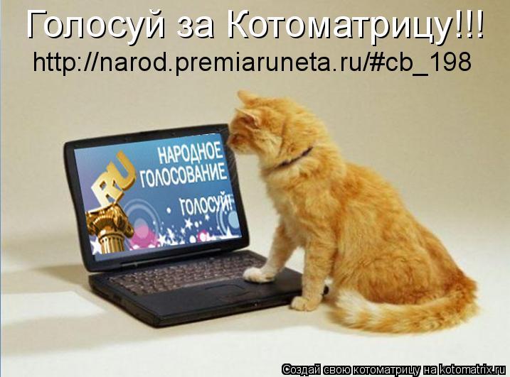 Котоматрица: Голосуй за Котоматрицу!!! http://narod.premiaruneta.ru/#cb_198