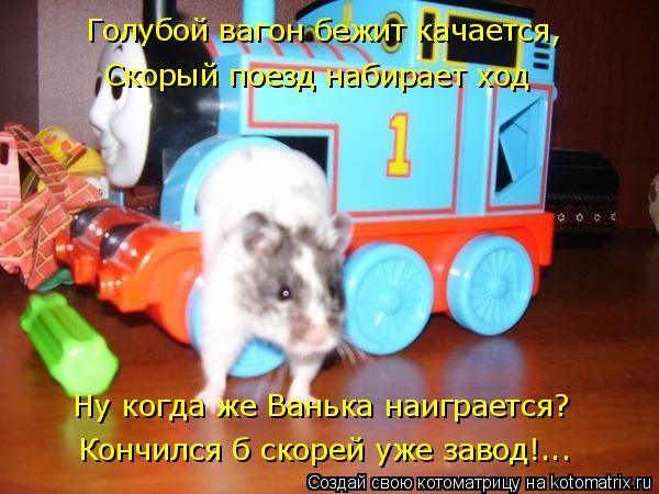 Котоматрица: Голубой вагон бежит качается,  Скорый поезд набирает ход Ну когда же Ванька наиграется?  Кончился б скорей уже завод!...