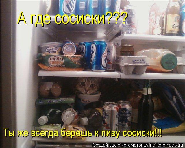 Котоматрица: Ты же всегда берешь к пиву сосиски!!! А где сосиски???