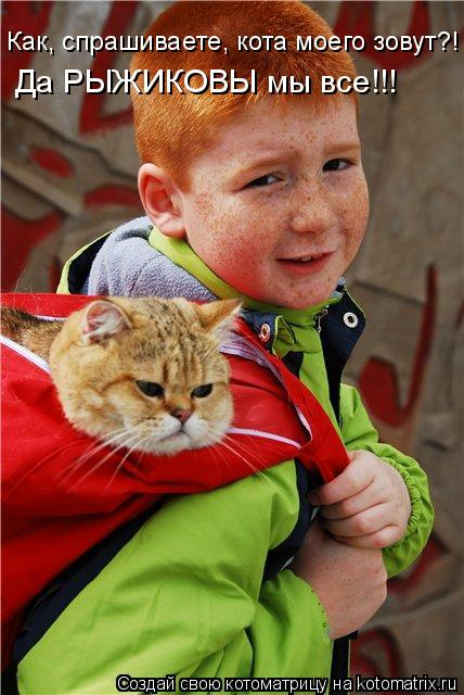 Котоматрица: Как, спрашиваете, кота моего зовут?! Да РЫЖИКОВЫ мы все!!!