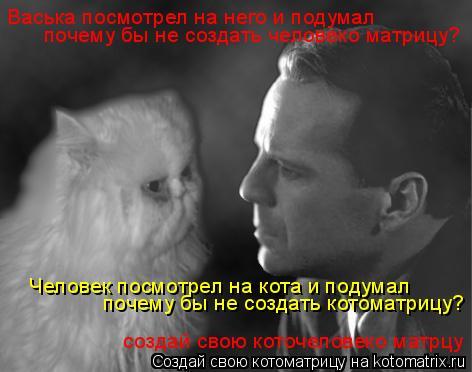 Котоматрица: создай свою коточеловеко матрцу Васька посмотрел на него и подумал почему бы не создать человеко матрицу? Человек посмотрел на кота и поду
