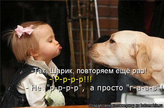 "Котоматрица: -Так, Шарик, повторяем ещё раз! - Р-р-р-р!!! - Не  ""р-р-р-р"",  а просто ""г-а-а-в""!"