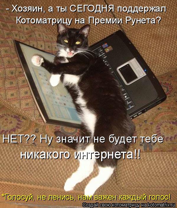 Котоматрица: - Хозяин, а ты СЕГОДНЯ поддержал  Котоматрицу на Премии Рунета? НЕТ?? Ну значит не будет тебе никакого интернета!! *Голосуй, не ленись, нам важе