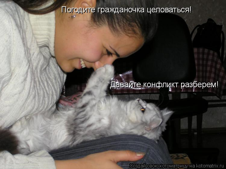 Котоматрица: Погодите гражданочка целоваться! Погодите гражданочка целоваться! Давайте конфликт разберем!