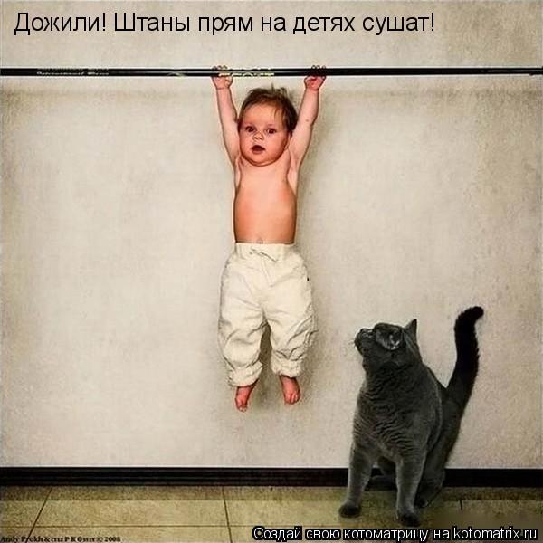 Котоматрица: Дожили! Штаны прям на детях сушат!