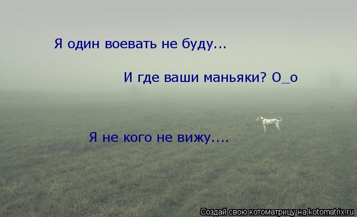 Котоматрица: Я один воевать не буду... И где ваши маньяки? О_о Я не кого не вижу....