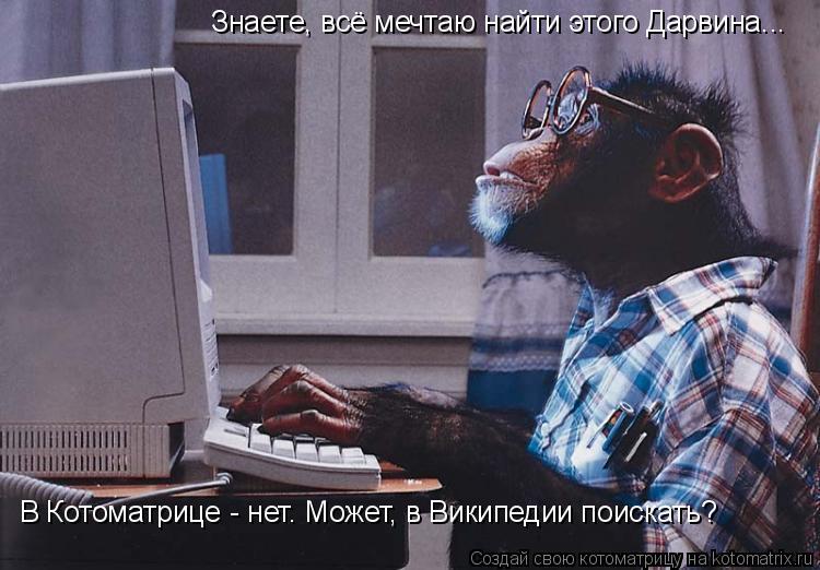 Котоматрица: Знаете, всё мечтаю найти этого Дарвина... В Котоматрице - нет. Может, в Википедии поискать?