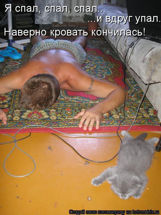 Котоматрица: Я спал, спал, спал... ...и вдруг упал. Наверно кровать кончилась!