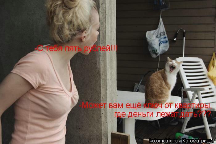 Котоматрица: -Может вам ещё ключ от квартиры, -С тебя пять рублей!!! где деньги лежат,дать???