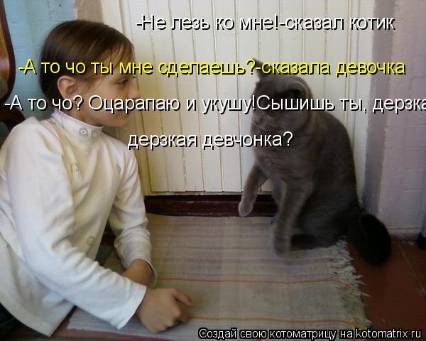 Котоматрица: -Не лезь ко мне!-сказал котик -А то чо ты мне сделаешь?-сказала девочка -А то чо? Оцарапаю и укушу!Сышишь ты, дерзкая девчонка? дерзкая девчонка