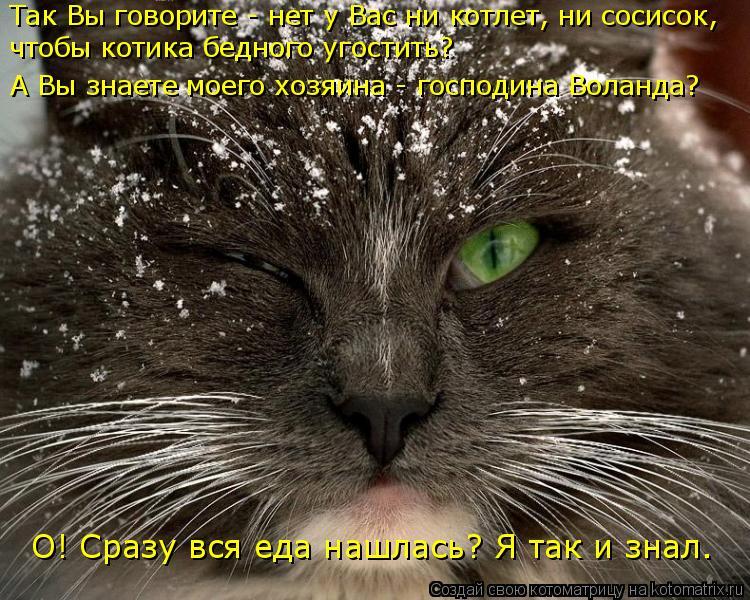 Котоматрица: чтобы котика бедного угостить? Так Вы говорите - нет у Вас ни котлет, ни сосисок, А Вы знаете моего хозяина - господина Воланда? О! Сразу вся ед