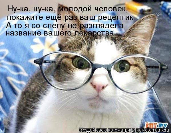 Котоматрица: Ну-ка, ну-ка, молодой человек, покажите ещё раз ваш рецептик А то я со слепу не разглядела название вашего лекарства