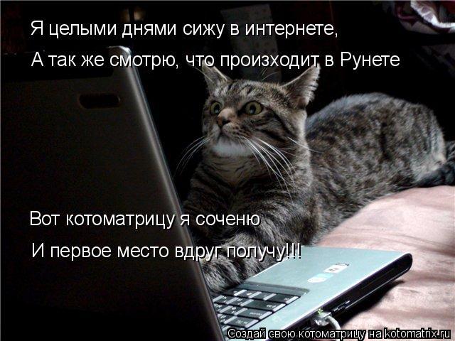 Котоматрица: Я целыми днями сижу в интернете, А так же смотрю, что произходит в Рунете Вот котоматрицу я соченю И первое место вдруг получу!!!