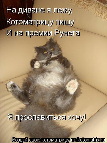 Котоматрица: На диване я лежу, Котоматрицу пишу И на премии Рунета  Я прославиться хочу!