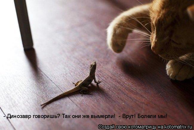 Котоматрица: - Динозавр говоришь? Так они же вымерли!  - Врут! Болели мы!
