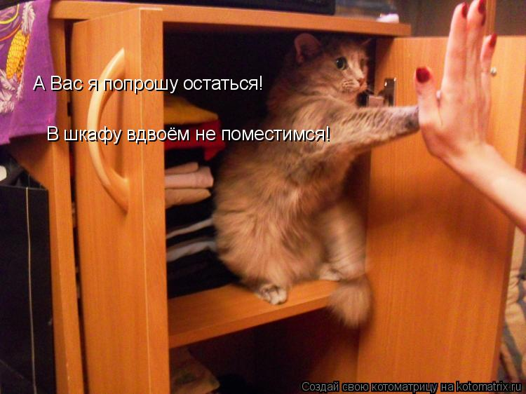 Котоматрица: А Вас я попрошу остаться! В шкафу вдвоём не поместимся!