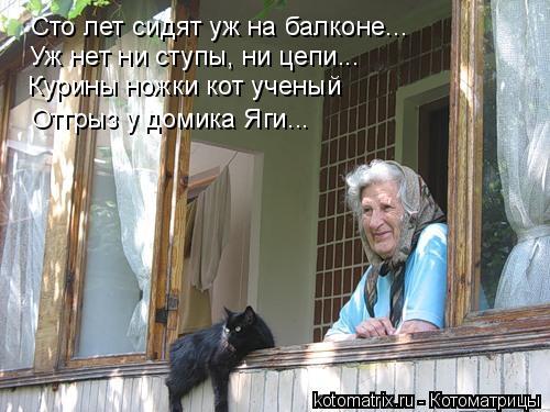 Котоматрица: Уж нет ни ступы, ни цепи... Курины ножки кот ученый Отгрыз у домика Яги... Сто лет сидят уж на балконе...