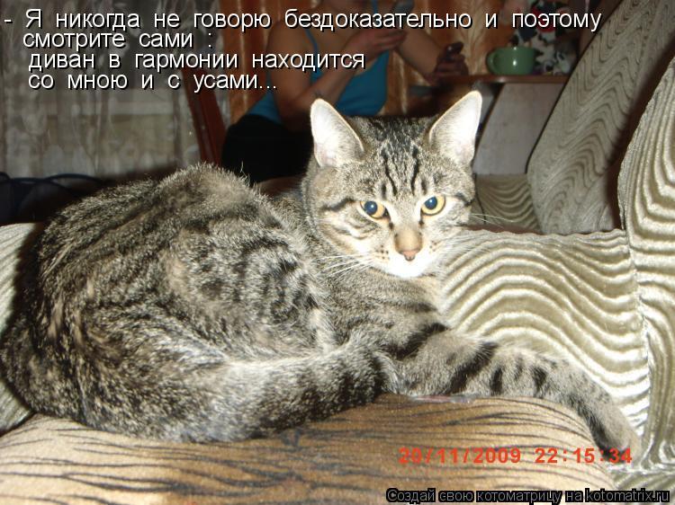 Котоматрица: -  Я  никогда  не  говорю  бездоказательно  и  поэтому  смотрите  сами  :   диван  в  гармонии  находится  со  мною  и  с  усами...
