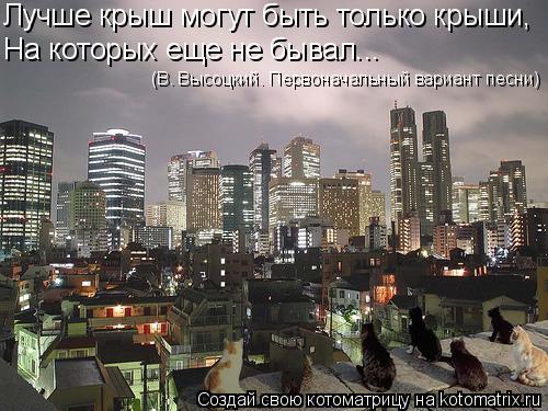 Котоматрица: Лучше крыш могут быть только крыши, На которых еще не бывал... (В. Высоцкий. Первоначальный вариант песни)