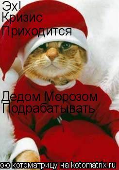 Котоматрица: Эх! Кризис Приходится  Дедом Морозом Подрабатывать