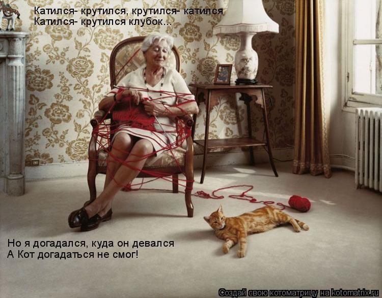 Котоматрица: Катился- крутился, крутился- катился Катился- крутился клубок... Но я догадался, куда он девался А Кот догадаться не смог!