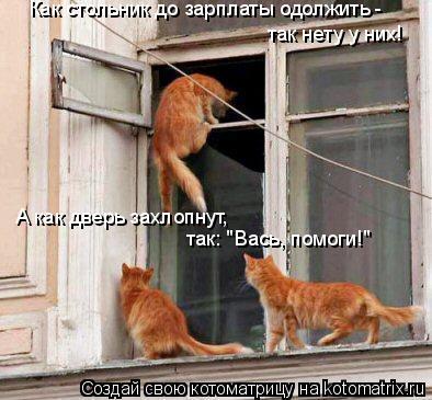 """Котоматрица: Как стольник до зарплаты одолжить - так нету у них! А как дверь захлопнут, так: """"Вась, помоги!"""""""