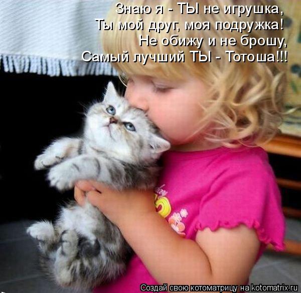 Котоматрица: Знаю я - ТЫ не игрушка, Ты мой друг, моя подружка! Не обижу и не брошу, Самый лучший ТЫ - Тотоша!!!