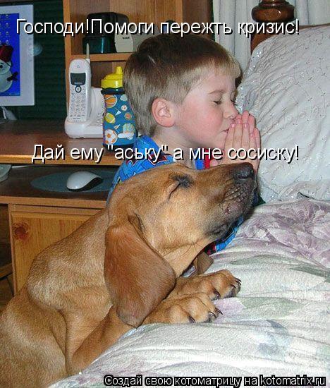 """Котоматрица: Господи!Помоги пережть кризис! Дай ему """"аську"""" а мне сосиску!"""