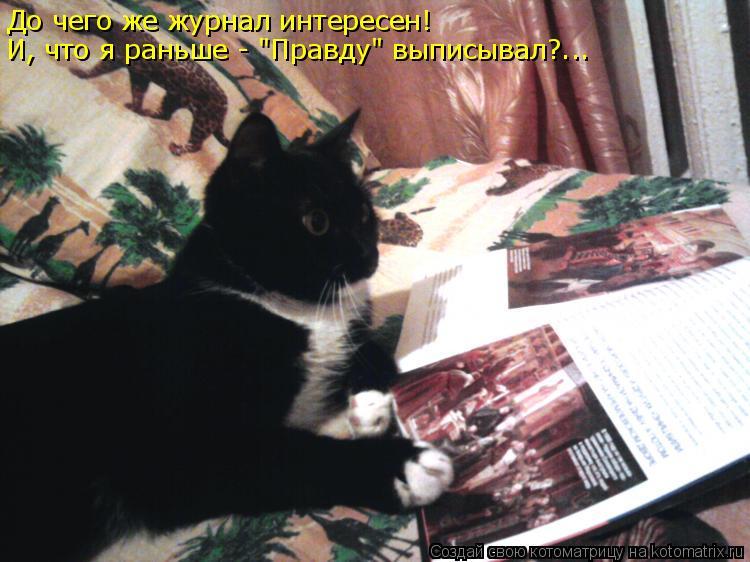 """Котоматрица: До чего же журнал интересен! И, что я раньше - """"Правду"""" выписывал?..."""
