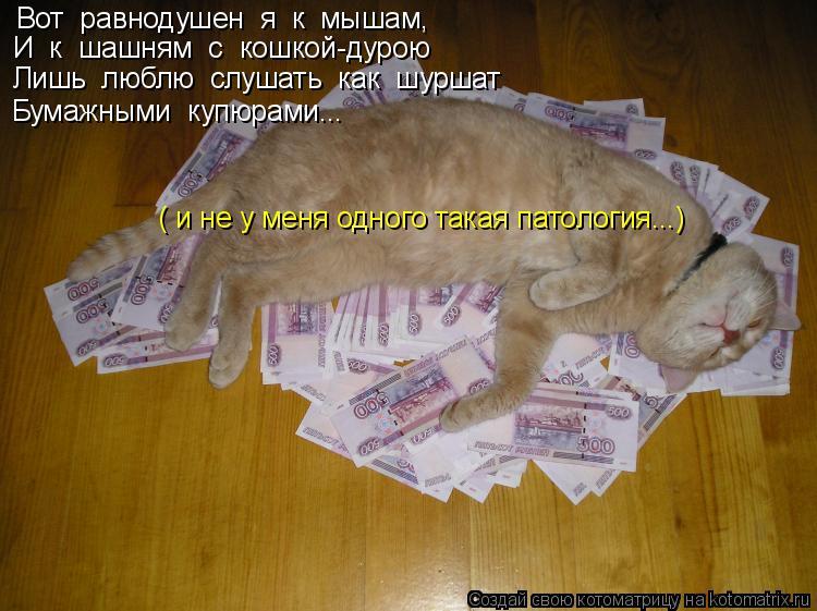 Котоматрица: Вот  равнодушен  я  к  мышам, И  к  шашням  с  кошкой-дурою Лишь  люблю  слушать  как  шуршат Бумажными  купюрами... ( и не у меня одного такая патол
